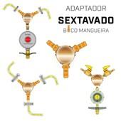 """Adaptador Sextavado de Gás Latão 3/8"""" BM x 3/8"""" BM x 3/8"""" BM"""