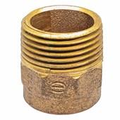 """Conector de bronze 28 mm  x 1"""" Macho-Bolsa Água Quente e Fria e Gás"""
