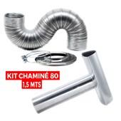 Kit Chaminé para Aquecedor 80 mm x 1,5 mts