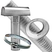 Kit Chaminé para aquecedor a gás 110 MM X 3,0 MTS Aluminio