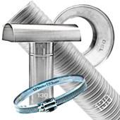 Kit Chaminé para aquecedor a gás 130 MM X 3,0 MTS Aluminio