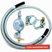 Kit Mangueira Gás Flexível Aço 1,0 MT + Registro com Manômetro