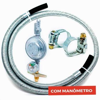 Kit Mangueira Gás Flexível Aço 2,0 MT + Registro com Manômetro