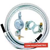 Kit Mangueira Gás Malha de Aço + Manômetro
