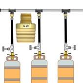 Niple Duplo Redução Latão  1 NPT Macho para Gás