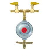 Regulador para Gás 5 kg/h + 2 Registros 1/8 NPT Roco Latão BM